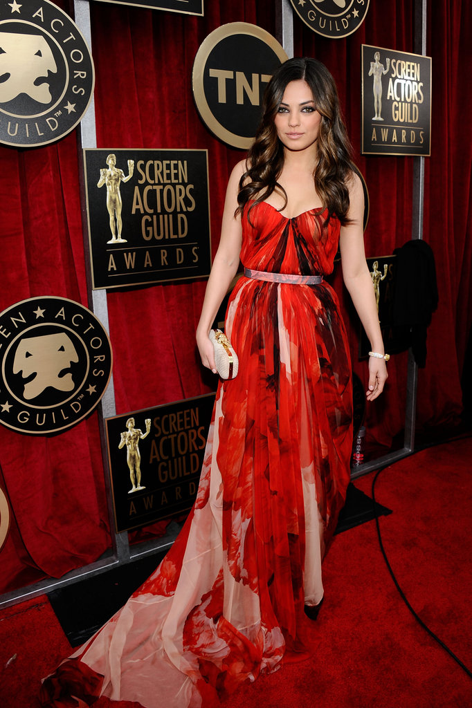 Mila Kunis in a standout printed Alexander McQueen last year.