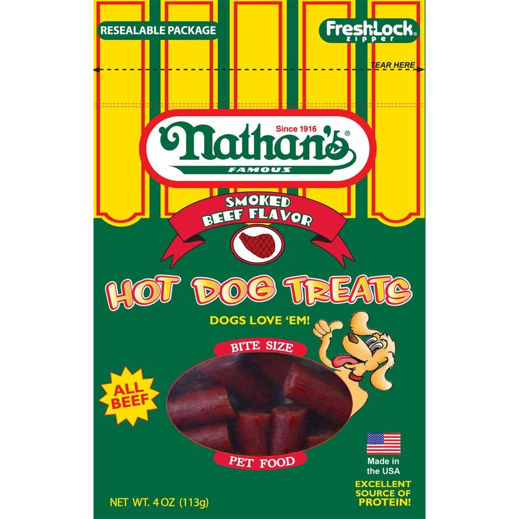 Nathan's Famous classic comes in sizes just for your pup! These hot dog treats leave out the unnecessary parts (the bun!) and focus on all-beef goodness.
