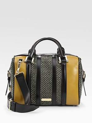 Burberry - Raffia & Leather Satchel - Saks.com