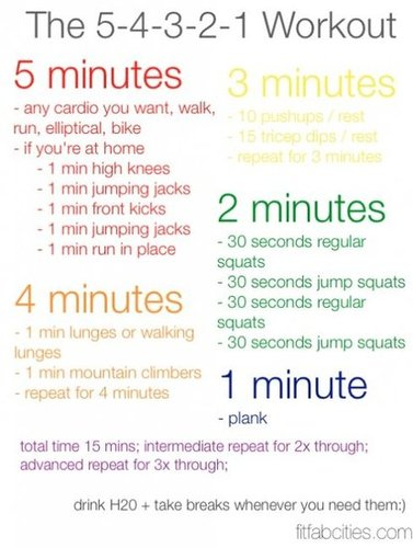 Printable 5-4-3-2-1 Workout…Cardio and Strength!
