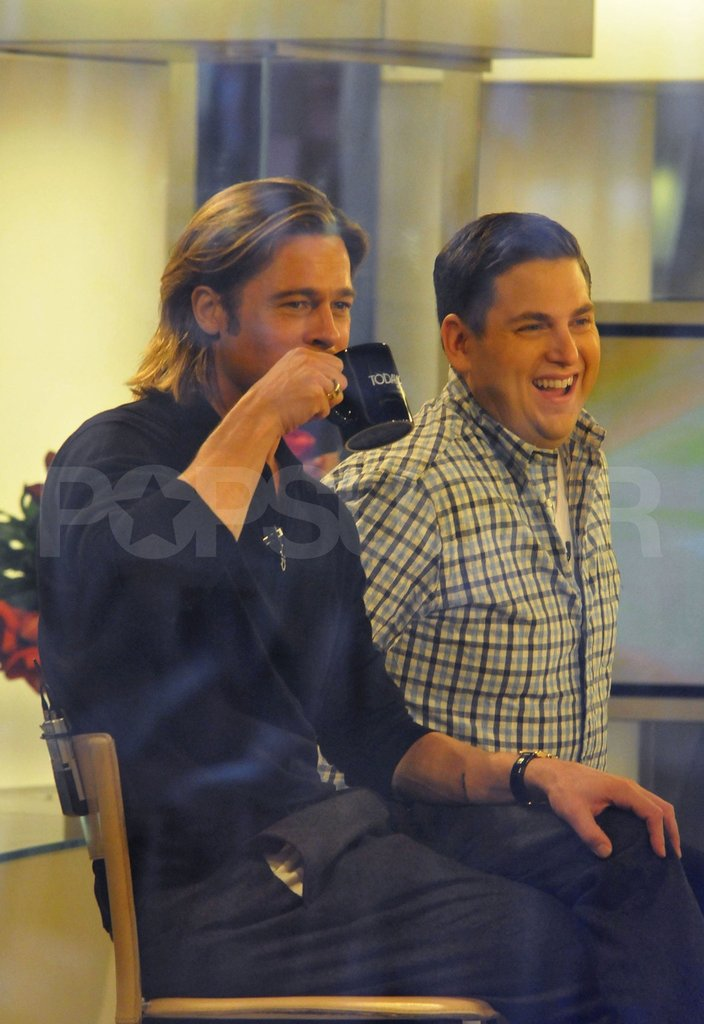 Brad Pitt and Jonah Hill smiled on The Today Show.