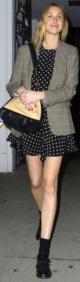 Whitney Port Polka-Dot Dress Plaid Blazer