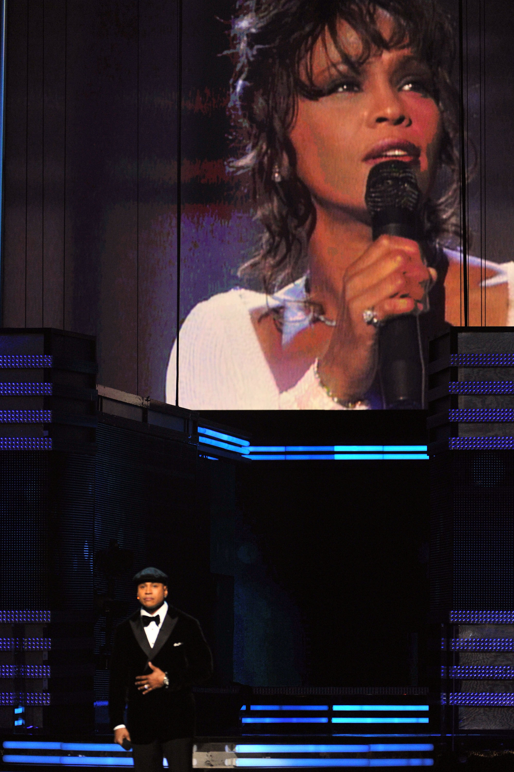 LL started the show with a prayer dedicated to Whitney Houston.