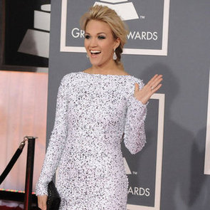 Carrie Underwood White Sparkly Backless Dress Pictures at 2012 Grammy Awards