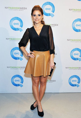 Maria Menounos in a leather skirt at QVC's runway presentation.