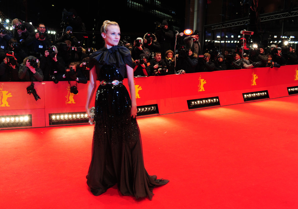 Diane Kruger's dress sparkled under the bright lights.