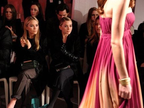 Mary-Kate Olsen and Ashley Olsen at QVC's runway show.  worldredeye.com