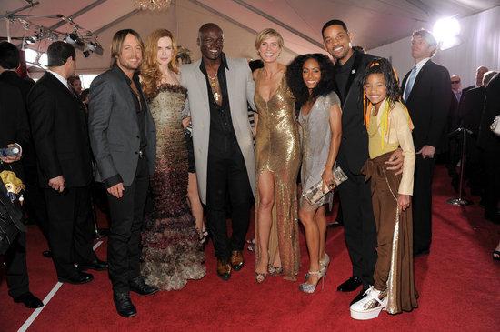 Keith Urban and Nicole Kidman posed with Seal, Heidi Klum, Will Smith, Jada Pinkett Smith and Willow Smith at the 2011 Grammys.
