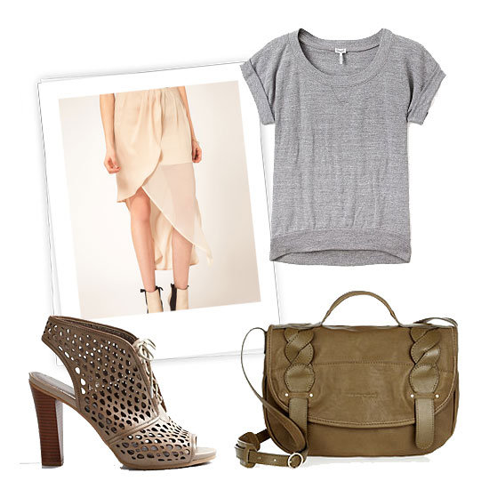 Keep this look in mind as we transition to warmer weather — a pretty sheer skirt pulls double-duty (read: not just for date night) when you pare it down with a sweatshirt tee and add a little edge via cutout booties.  Splendid Heather Grey Scoop Neck Cuffed Slub Top ($61, originally $121), Factory By Erik Hart Skirt Maxi Wrap Sheer Drape ($260), Loft Sheera Perforated Booties ($128), See by Chloé Twirl Leather Messenger Bag ($495)