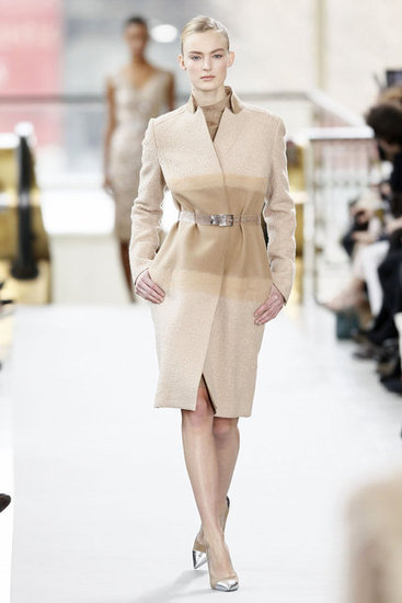 This camel soft striped coat at Philosophy is so elegant.