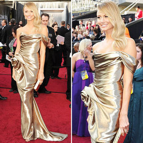 Stacy Keibler Goes For Gold at the 2012 Oscars in Strapless Gold Satin Marchesa Gown: Who Need George Clooney?