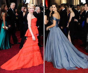 2012 Oscars Red Carpet Trend: Celebrities Wear Dramatic Dresses With Trains. Rooney Mara, Michelle Williams and more!