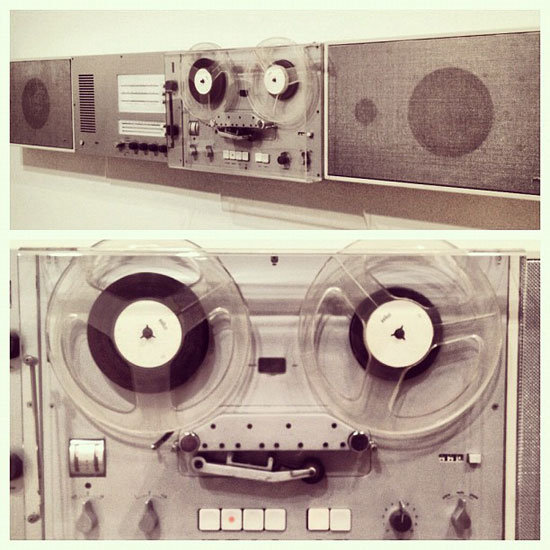 The tape recorder, flat loudspeakers, and control unit have major personality.
