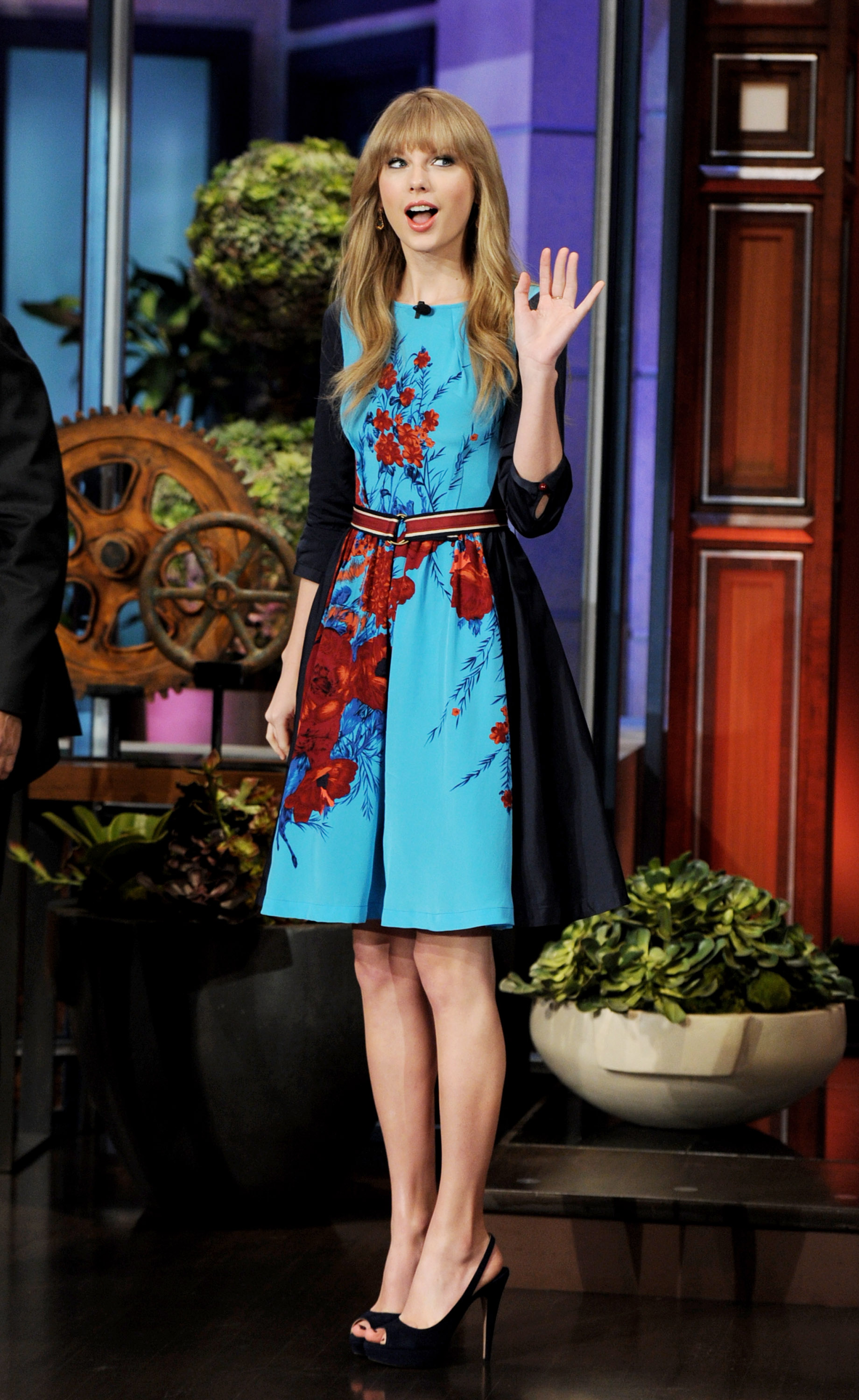 taylor swift in a floral dress taylor swift busts out a