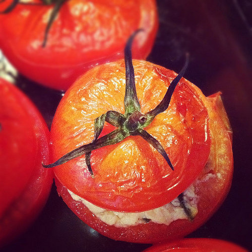 Vegan Goat Cheese-Stuffed Oven-Roasted Tomatoes