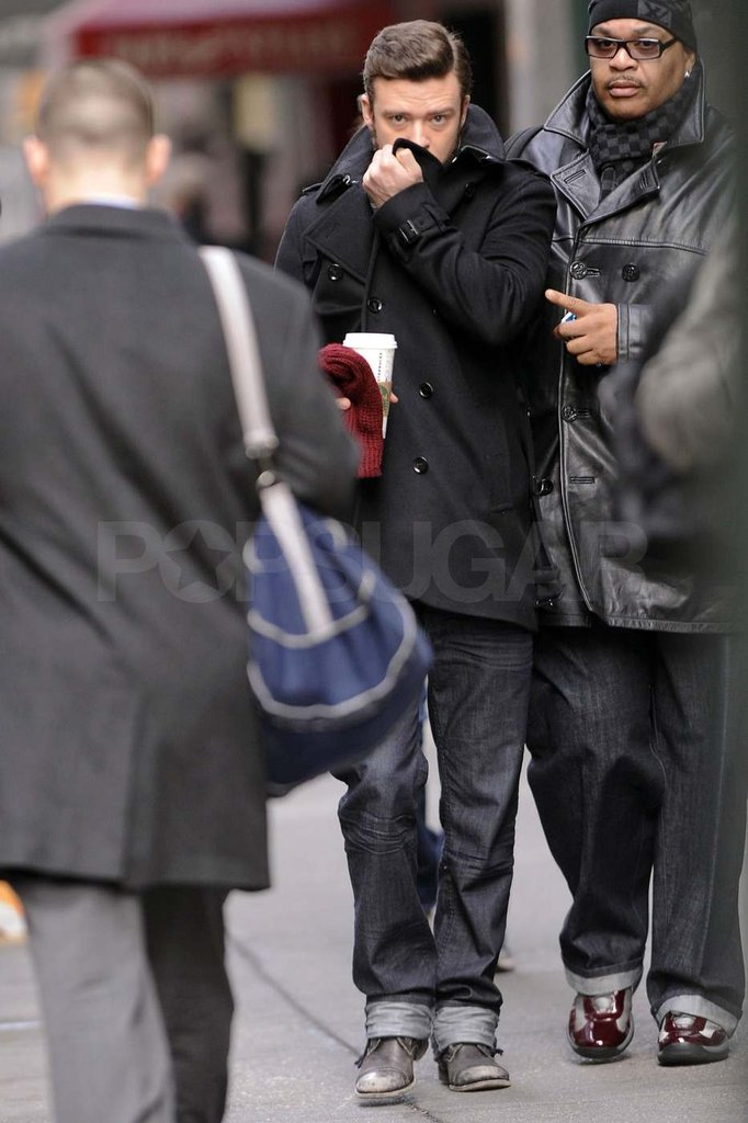 Justin Timberlake out in NYC for Inside Llewyn Davis.