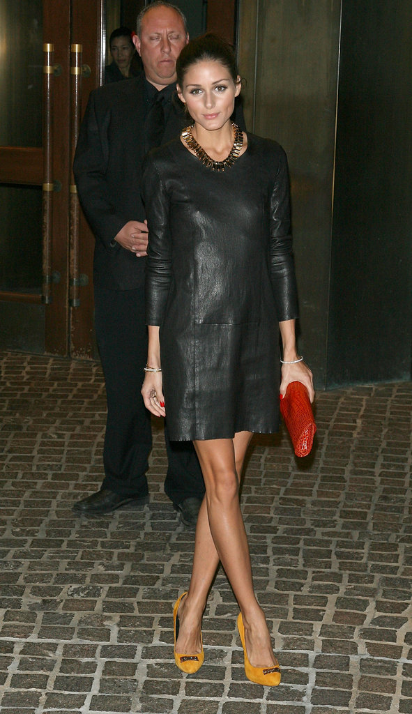 A slick leather sheath and bold-hued accessories at a Cinema Society event in October 2010.