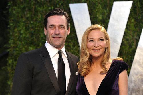 John Hamm and Jennifer Westfeldt up close at the Oscars afterparty.