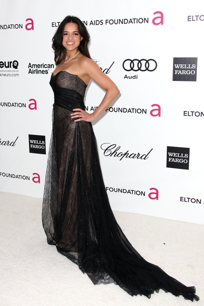 Michelle Rodriguez stepped out in a sheer black strapless, complete with a dramatic train.