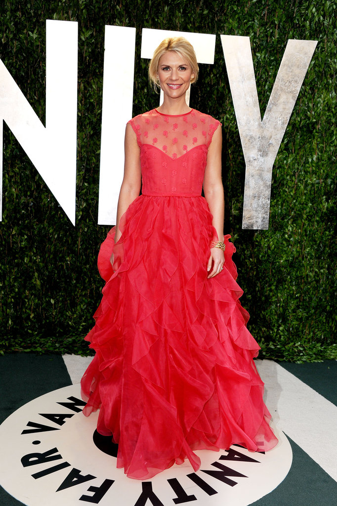 Claire Danes's Valentino gown is nearly all sweetness, but a sheer neckline gives the look a hint of sexy.