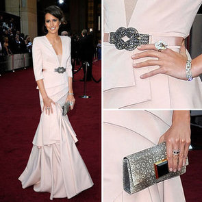 Louise Roe Wears Black Halo Pale Pink Gown on the 2012 Oscars Red Carpet: Do You Rate or Hate the Glamour Girls Look?