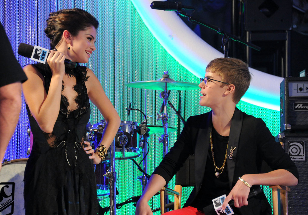 Selena Gomez and Justin Bieber hung out at the MTV Video Music Awards in September 2011.