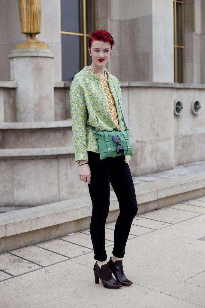 We love this bright green brocade blazer.
