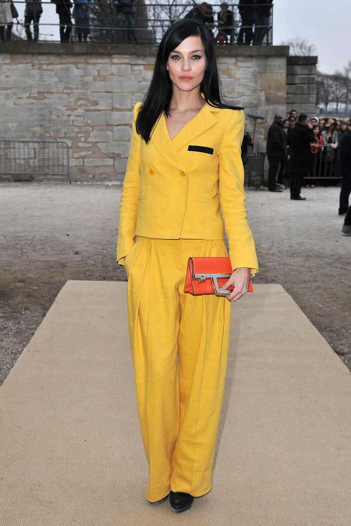 Leigh Lezark opted out of her usual black garb in favor of this bright yellow menswear-inspired suit at the Sonia Rykiel show.
