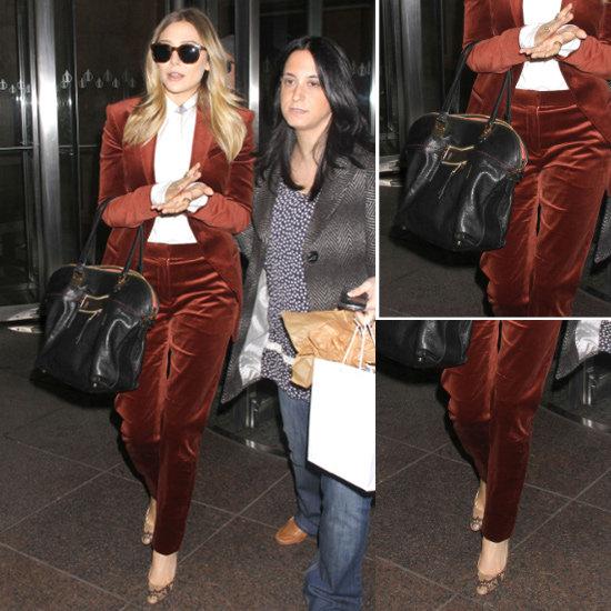 Elizabeth Olsen Red Velvet Suit