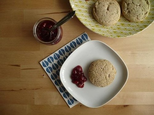 Honeyed Poppyseed Oat Biscuits with Lemony Strawberry Jam