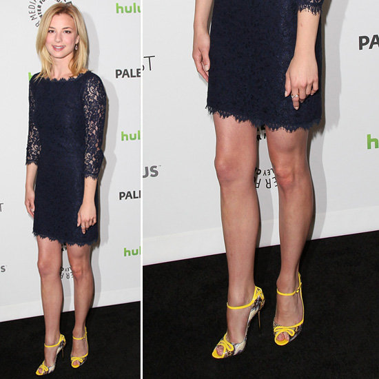 Emily VanCamp Navy Lace Dress