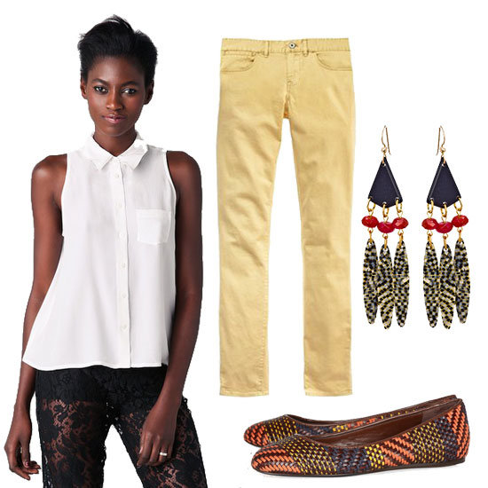 Here, we're adding exotic pops to a sleeveless button-up top and pale yellow jeans combo via woven flats and standout tribal-inspired earrings.  Equipment Mina Blouse ($178), Madewell Skinny Ankle Colorpop Jeans ($88), Bellissima Tribal Drop Earrings ($50), Burberry Prorsum Woven Leather and Raffia Ballet Flats ($450)