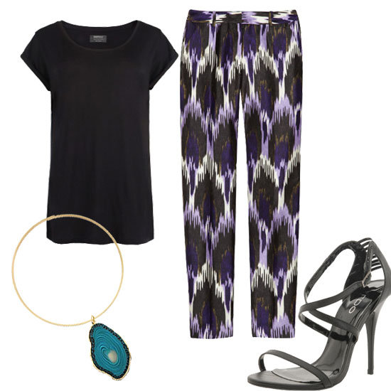 Style a pair of Ikat-print trousers with a slouchy tee, heels, and a bold choker necklace for a worldly downtown-cool vibe.  AllSaints Boyfriend Tee ($50), Michael Michael Kors Printed Ikat Trousers ($175), Erica Lyons Mediterranean Turquoise Agate Choker Necklace ($23), Aldo Corre Sandals ($55)