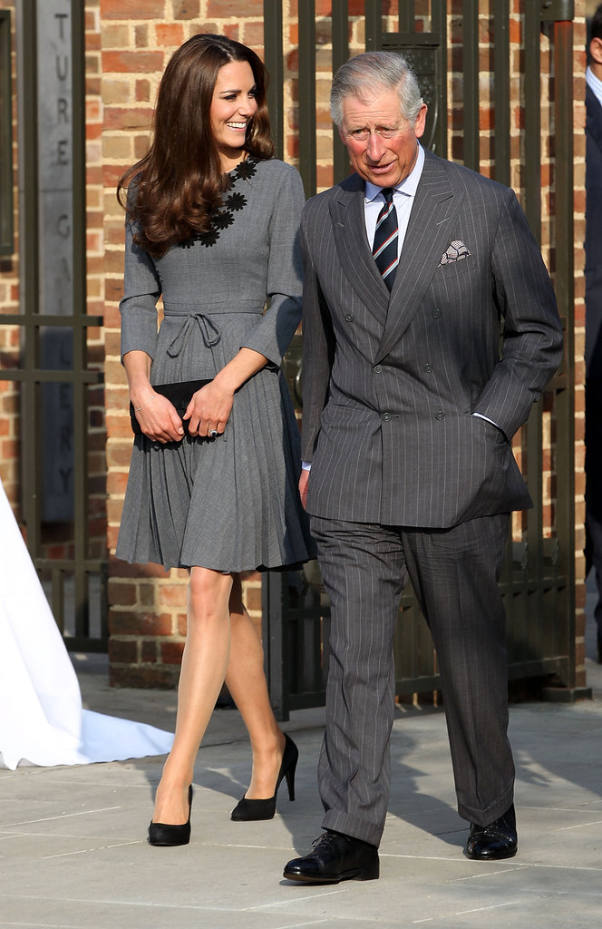 Kate Middleton in a grey Orla Keily dress.