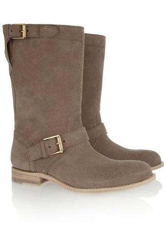 Jil Sander|Buckled brushed-suede boots|NET-A-PORTER.COM