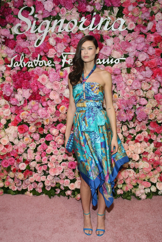 Bianca Balti chose a Spring-ready handkerchief-style halter.
