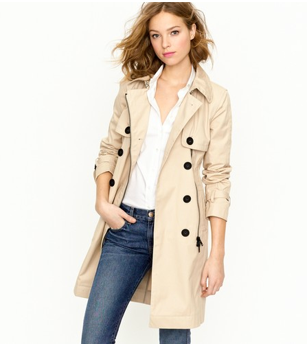 This classic trench gets an edgier update via moto-style zips, but they're subtle enough that it will work long after this season.  J.Crew Moto Trench ($495)