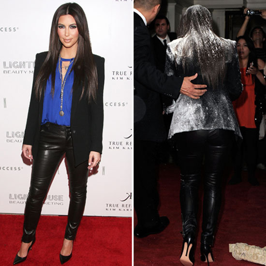 Kim Kardashian Gets Hit With a Bag of Flour While Promoting Her Fragrance