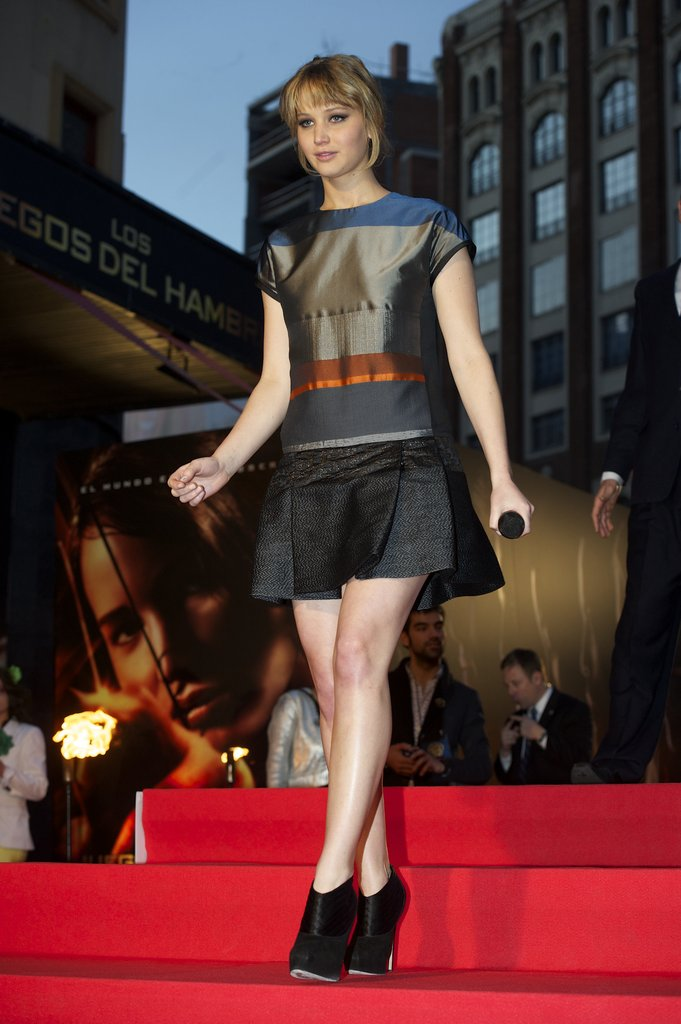 Jennifer Lawrence stepped out for the Madrid premiere in a multi-striped Victoria Beckham shift.