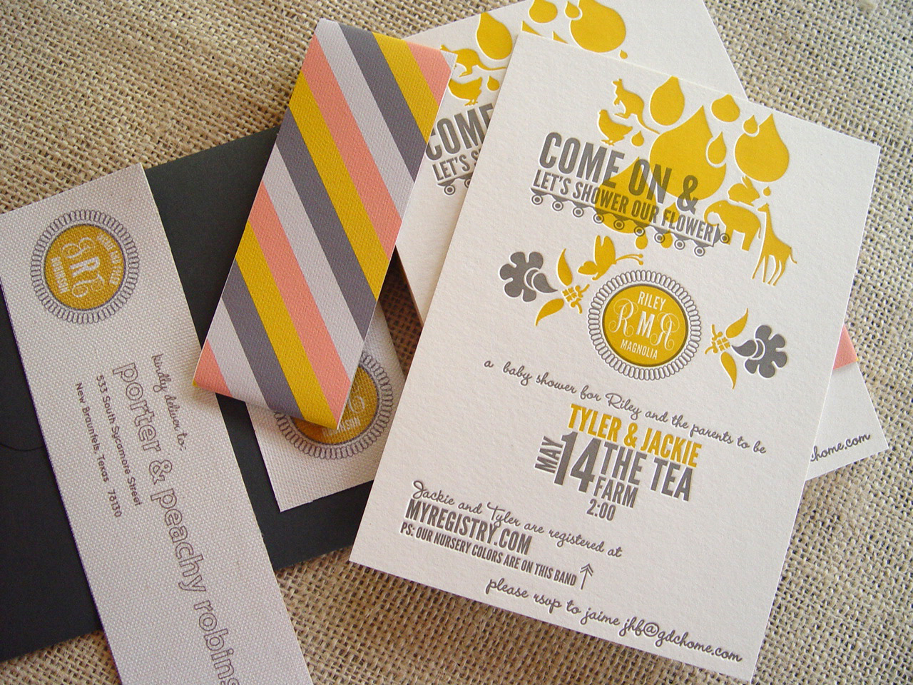Gray, Pink, and Gold Letterpress