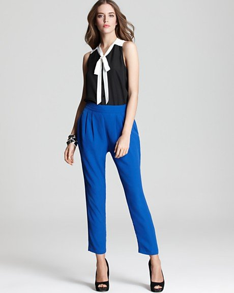 Even with a pair of trousers (even with jeans!) this top will lend just the right dose of sharp femininity.  Aqua Color Block Bow Blouse ($62, originally $78)