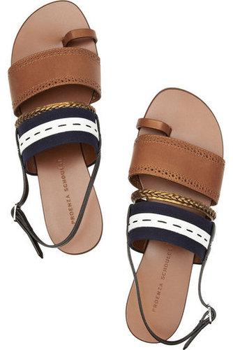 Proenza Schouler|Leather and canvas sandals|NET-A-PORTER.COM