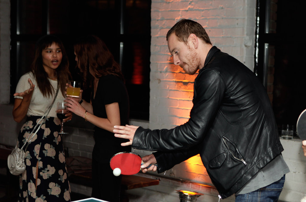 Michael Fassbender showed his ping-pong skills with then-girlfriend Zoe Kravitz during a September 2011 trip to Toronto.