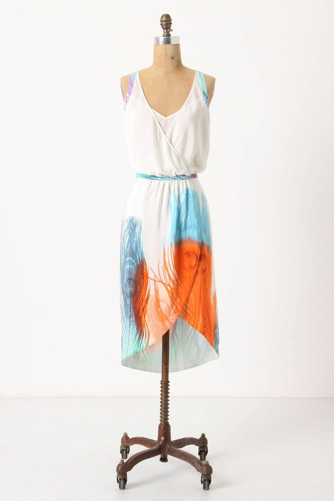 A Sweet Bohemian Sheath For a slightly quirkier feel, opt for something bright and print-infused. Add a denim jacket or neon-hued cardigan for a polished finish. Anthropologie Hera Feather Dress ($140, originally $268)