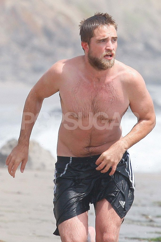 Robert Pattinson went shirtless with a beard.
