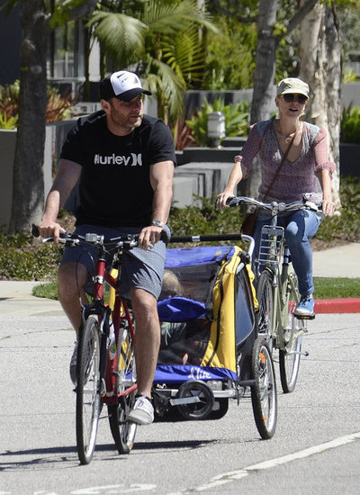 Naomi Watts and Liev Schreiber took a bike ride through Brentwood with their kids.