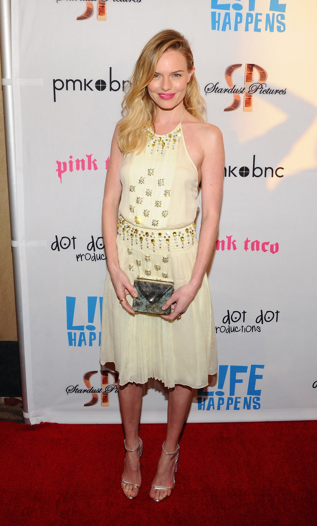 Kate Bosworth carried a square silver clutch to the premiere of Life Happens in Century City.