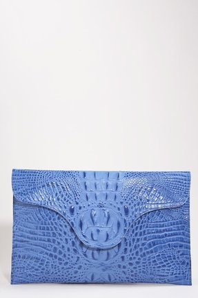 The texture and brilliant blue make this a special find that could easily go day to night.  JJ Winters Blake Lively Croco Envelope Clutch in Brite Blue ($149)