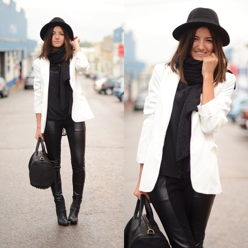 While the chilly weather lingers, we think this all-black ensemble, completed by a cool-girl Alexander Wang duffel, is a perfect example of sharp layering.  Photo courtesy of Lookbook.nu
