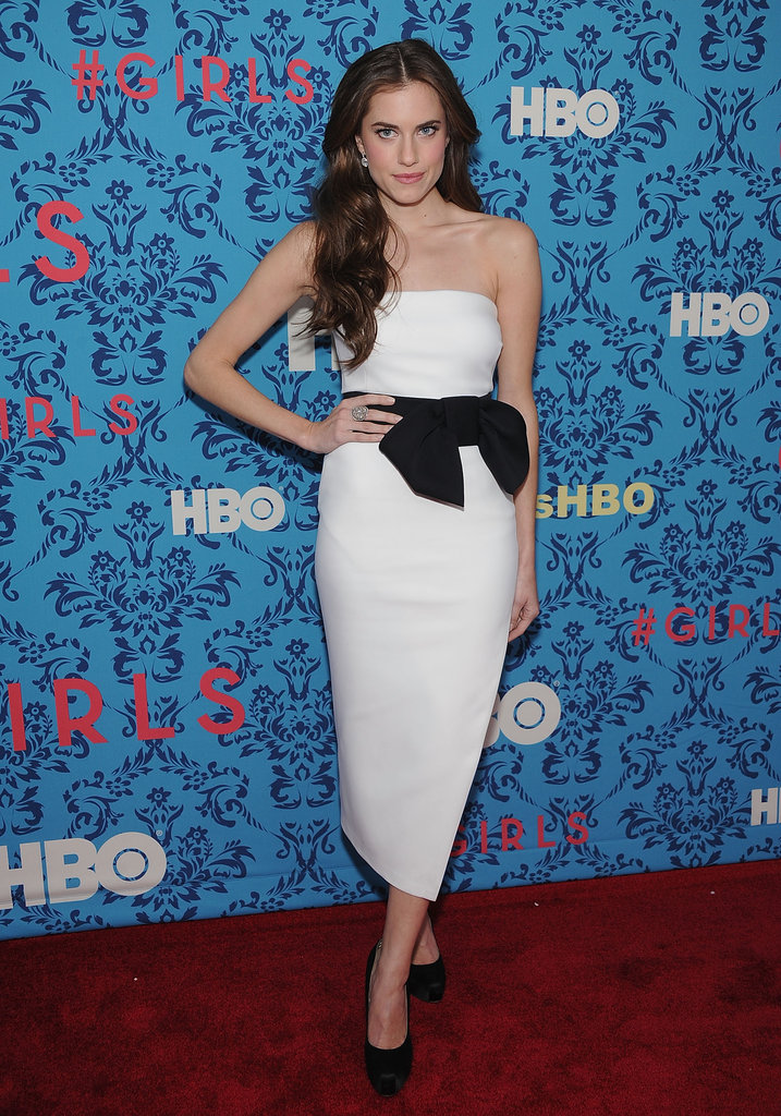 Allison Williams wore a white gown with a black bow to the premiere of HBO's Girls in NYC.